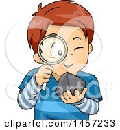 Clipart Of A White School Boy Studying A Rock With A Magnifying Glass Royalty Free Vector Illustration by BNP Design Studio