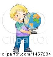 Poster, Art Print Of Blond White Boy Holding A Desk Globe