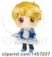 Poster, Art Print Of Blond White Boy Holding A Map