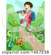 Clipart Of A White Boy Holding Binoculars And Studying Numbers On A Trail Royalty Free Vector Illustration by BNP Design Studio