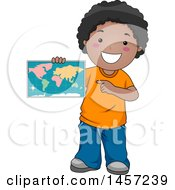 Poster, Art Print Of Happy Black School Boy Holding And Pointing To A Map