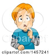 Clipart Of A Confused Red Haired White Boy Thinking Royalty Free Vector Illustration