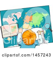 Clipart Of A Red Haired White School Boy Studying A Map Royalty Free Vector Illustration