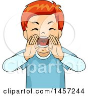 Clipart Of A Red Haired White Boy Yelling Royalty Free Vector Illustration