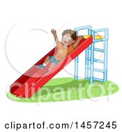 Clipart Of A Happy Black Boy Playing On A Slide Royalty Free Vector Illustration by BNP Design Studio