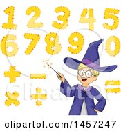 Clipart Of A Math Wizard White Boy With A Magic Wand And Numbers Royalty Free Vector Illustration by BNP Design Studio