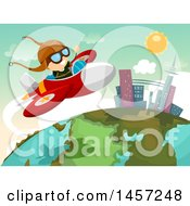 Clipart Of A White Boy Pilot Flying A Plane Over A Globe Royalty Free Vector Illustration