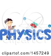 Clipart Of A School Boy In A Lab Coat With An Atom And Physics Text Royalty Free Vector Illustration