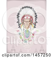 Clipart Of A Native American Indian Chief Wearing A Feather Headdress Over A Village Royalty Free Vector Illustration