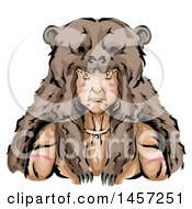 Clipart Of A Native American Indian Hunter Wearing A Bear Skin Headdress Royalty Free Vector Illustration