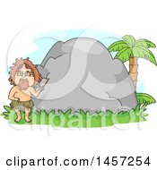 Clipart Of A Caveman Teacher Holding A Pointer Stick In Front Of A Boulder Royalty Free Vector Illustration