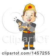 Clipart Of A Cartoon Caucasian Male Firefighter Holding A Ringing Telephone Royalty Free Vector Illustration