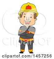 Clipart Of A Cartoon Fireman With Folded Arms Royalty Free Vector Illustration by BNP Design Studio