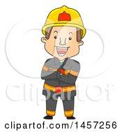Cartoon Fireman With Folded Arms