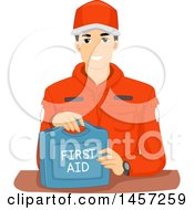 Clipart Of A Male Emergency Response Team Memer With A First Aid Kit Royalty Free Vector Illustration