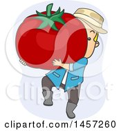 Clipart Of A Cartoon Blond White Male Farmer Carrying A Giant Tomato Royalty Free Vector Illustration
