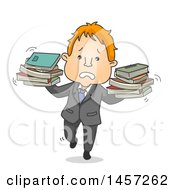Clipart Of A Cartoon Red Haired White Business Man Balancing Books Royalty Free Vector Illustration