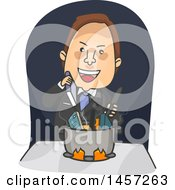 Clipart Of A Cartoon Brunette White Business Man Cooking The Books Royalty Free Vector Illustration by BNP Design Studio