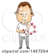Clipart Of A Cartoon Brunette White Man With Butterflies In His Stomach Royalty Free Vector Illustration