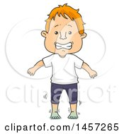 Clipart Of A Cartoon Red Haired White Man With Cold Feet Royalty Free Vector Illustration