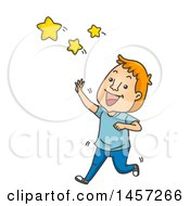 Clipart Of A Cartoon Red Haired White Man Reaching For The Stars Royalty Free Vector Illustration