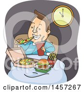 Clipart Of A Cartoon Brunette White Man Eating Junk Food In Bed Royalty Free Vector Illustration by BNP Design Studio