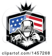 Clipart Of A Retro Welder Working In An American Flag Shield With A Crown Royalty Free Vector Illustration