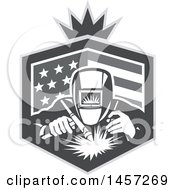 Clipart Of A Retro Grayscale Welder Working In An American Flag Shield With A Crown Royalty Free Vector Illustration