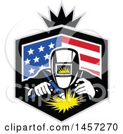 Clipart Of A Retro Welder In An American Flag Shield With A Crown Royalty Free Vector Illustration
