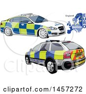 Clipart Of An English Police Car Shown From The Rear And Front Royalty Free Vector Illustration by dero