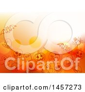 Clipart Of A Halloween Background With Bubbles And Sketched Icons Royalty Free Vector Illustration
