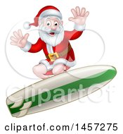 Clipart Of A Christmas Santa Claus Surfing Royalty Free Vector Illustration