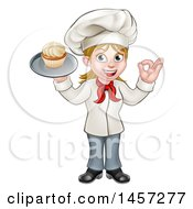 Clipart Of A Cartoon Full Length Happy White Female Chef Holding A Cupcake On A Tray And Gesturing Perfect Royalty Free Vector Illustration