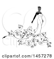 Clipart Of A Silhouetted Black And White Bride In Her Wedding Dress With Swirls Royalty Free Vector Illustration