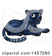Clipart Of A Cartoon Resting Black Panther Big Cat Royalty Free Vector Illustration