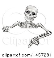 Clipart Of A Cartoon Skeleton Pointing Down Over A Sign Royalty Free Vector Illustration by AtStockIllustration
