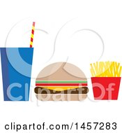 Clipart Of A Fast Food Meal Of A Fountain Soda Cheeseburger And French Fries Royalty Free Vector Illustration