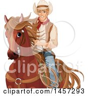 Clipart Of A Handsome Cowboy Pecos Bill On Horseback Royalty Free Vector Illustration