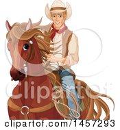 Poster, Art Print Of Handsome Cowboy Pecos Bill On Horseback