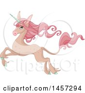 Pretty Leaping Tan Unicorn With Long Pink Hair