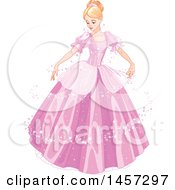 Clipart Of A Beautiful Princess Cinderella Dancing In A Magical Pink Ball Gown Royalty Free Vector Illustration
