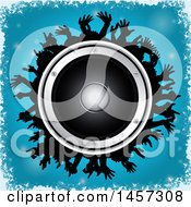 Round Music Speaker Encircled In Silhouetted Hands Over Blue With A Border Of White Grunge