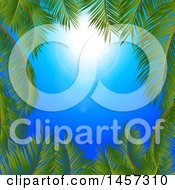 Clipart Of A Sunny Blue Sky With A Border Of Palm Tree Branches Royalty Free Vector Illustration