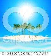 Sunny Blue Sky Over A Tropical Island With Palm Trees