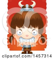 Clipart Of A 3d Mad White Girl Viking Over Strokes Royalty Free Vector Illustration