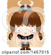 Clipart Of A 3d Happy White Girl Viking Over Strokes Royalty Free Vector Illustration