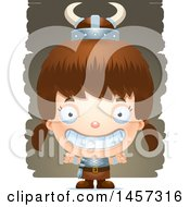 Clipart Of A 3d Grinning White Girl Viking Over Strokes Royalty Free Vector Illustration