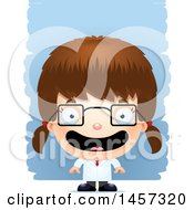 Clipart Of A 3d Happy White Girl Scientist Over Strokes Royalty Free Vector Illustration