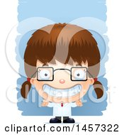 Clipart Of A 3d Grinning White Girl Scientist Over Strokes Royalty Free Vector Illustration