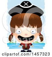 Clipart Of A 3d Happy White Girl Pirate Over Strokes Royalty Free Vector Illustration